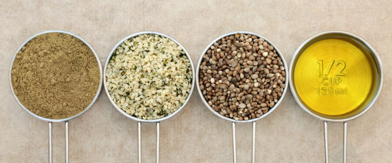 Semillas de cáñamo en polvo, semilla y en aceite