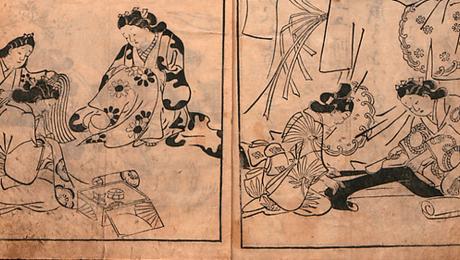 Japoneses tejiendo con cáñamo